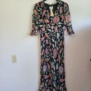 Ice|NWT Black Floral Maxi Dress